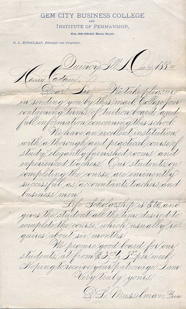 An example of typical business correspondence from 1884, rendered in Spencerian Script.